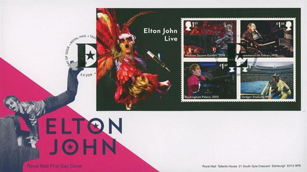 2019 Elton John Mini Sheet FDC