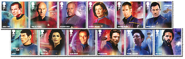 2020 Star Trek - Television Series Crew, Mint, Set of 12 Stamps, Great Britain