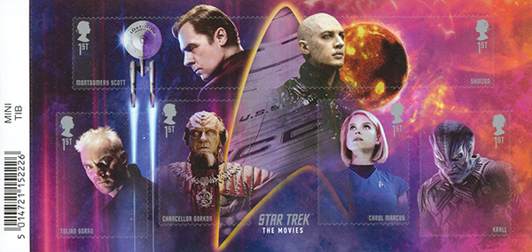 """2020 Star Trek """"The Movie"""", Mint Miniature Sheet of 6 Stamps, Great Britain"""