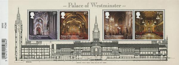 2020 Palace of Westminster, Mint, Miniature Sheet of 4 Stamps, Great Britain
