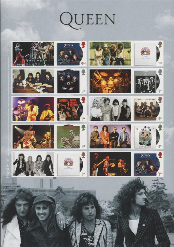 """2020 """"Queen"""" Album Collectors Set - Mint, Sheet of 10, Great Britain"""