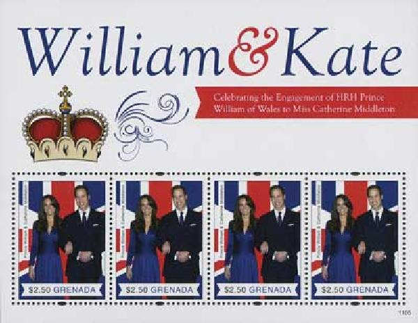 2011 Grenada William & Kate 4v M