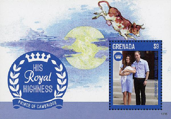 2013 $9 Will & Kate; Kate Holding Prince George; Cow Jumps over the Moon on Salvage