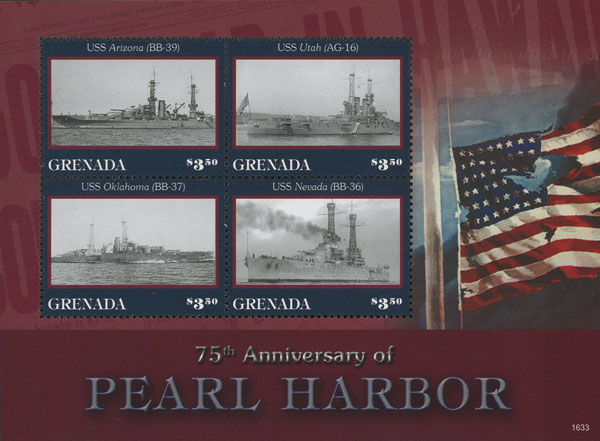 2016 75th Anniversary of Pearl Harbor sheet of 4
