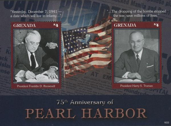 2016 World War II 75th Anniversary of Pearl Harbor, Mint, Souvenir Sheet, Grenada
