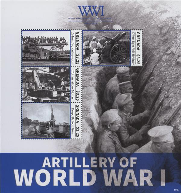 2014 $3.25 Artillary of World War I; Sheet of 4