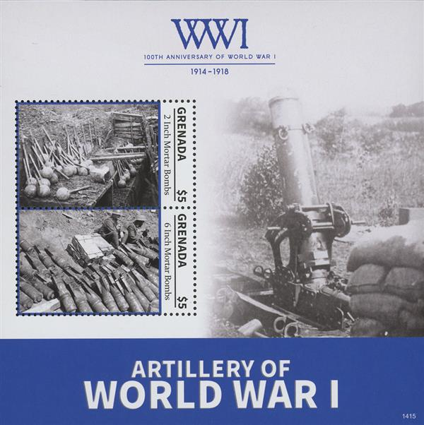 2014 $5 Artillery  of World War I; Souvenir Sheet of 2