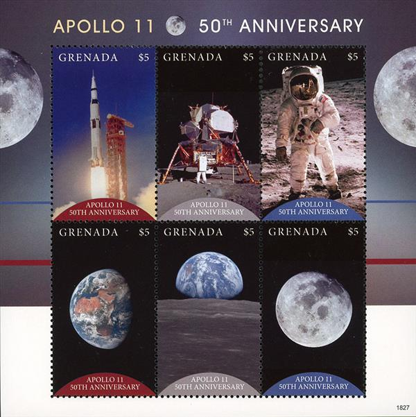2018 $5 Apollo 11 50th Anniversary sheet of 6