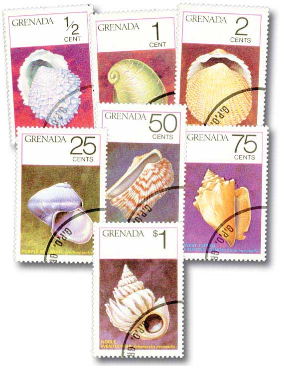 Grenada 1975 Seashells, 7 used stamps