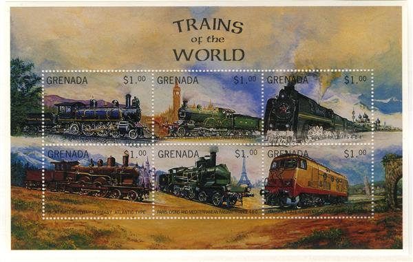 1996 Grenada 2568a-f Trains, 6v
