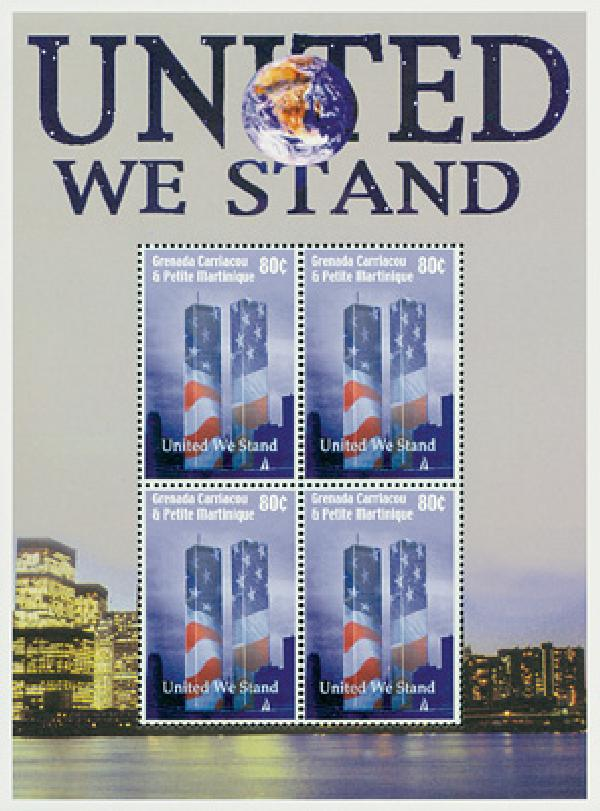 2002 Grenada 80c 'United We Stand' sheetlet of 4 stamps