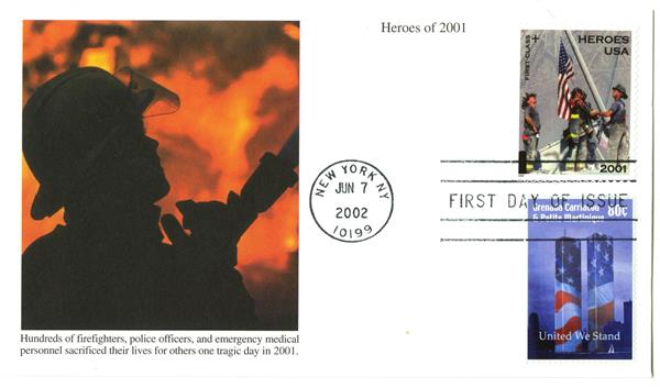 2002 Heros FDC w/Grenada stamp