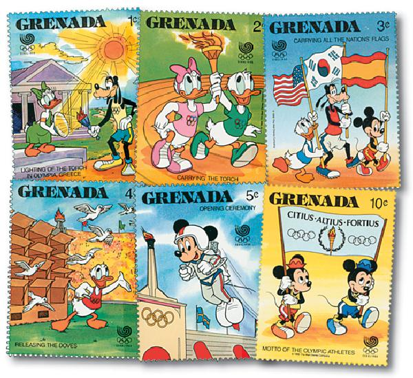 1988 Disney, Seoul Korea Summer Olympics, Mint, Set of 6 Stamps, Grenada