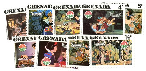 1980 Disney Christmas Celebrates - Snow White, Mint, Set of 9 Stamps, Grenada