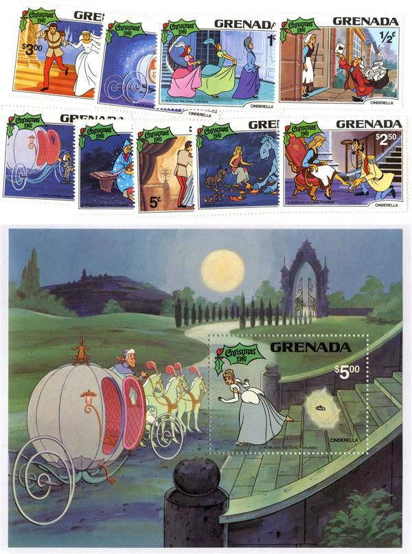 1981 Disney Christmas Celebrates - Cinderella, Mint, Set of 9 Stamps and Souvenir Sheet, Grenada