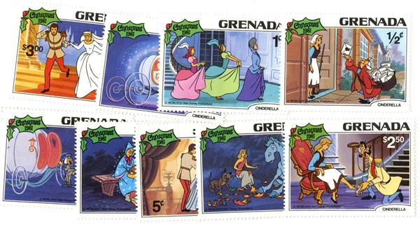1981 Disney Christmas Celebrates - Cinderella, Mint, Set of 9 Stamps, Grenada