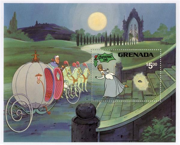 1981 Disney Christmas Celebrates - Cinderella, Mint Souvenir Sheet, Grenada