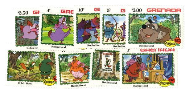 Grenada 1982 Robin Hood, 9 Mint Stamps