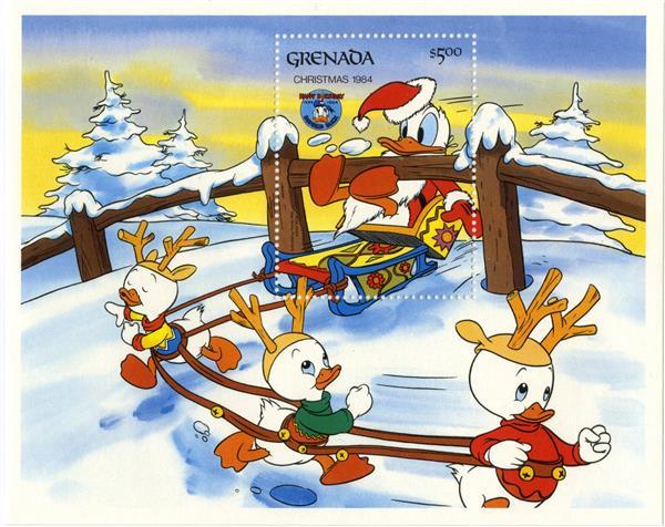 1984 Disney Celebrates Christmas - Donald Duck Movies, Mint, Set of 5 Stamps and Souvenir Sheet, Grenada