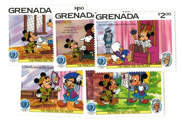 1985 Disneys International Year of the Child-Prince and The Pauper, Mint, Set of 5 Stamps, Grenada