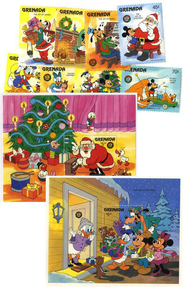 1986 Disney and Friends Celebrate Christmas, Mint, Set of 8 Stamps and 2 Souvenir Sheets, Grenada
