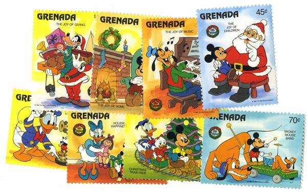 1986 Disney and Friends Celebrate Christmas, Mint, Set of 8 Stamps, Grenada
