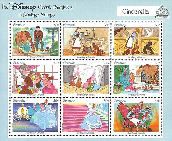 1987 Disneys Classic Fairy Tales - Snow White and the 7 Dwarfs, Mint Sheet of 9 Stamps, Grenada