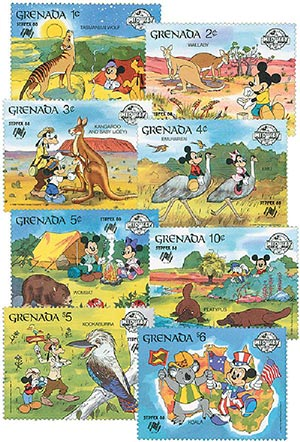 1988 Disney and Friends Vists the Land Down Under and SYDPEX 88, Mint, Set of 8 Stamps, Grenada
