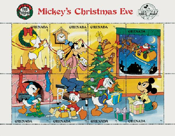 1988 Disney and Friends Celebrate Christmas Eve, Mint, Sheet of 8 Stamps and 2 Souvenir Sheets, Grenada