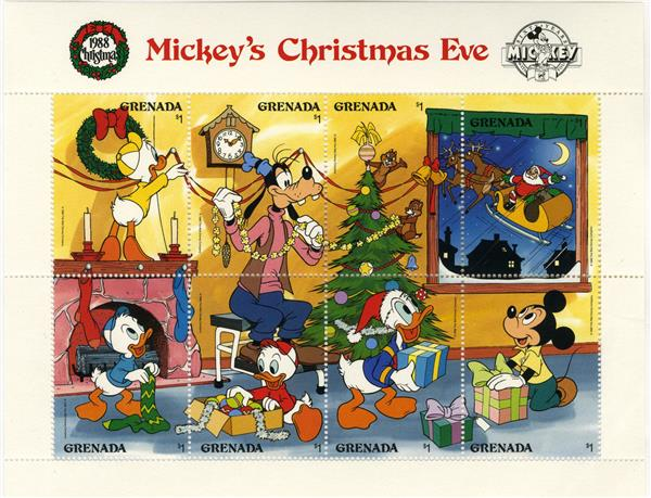 1988 Disney and Friends Celebrate Christmas Eve,  Mint, Sheet of 8 Stamps, Grenada