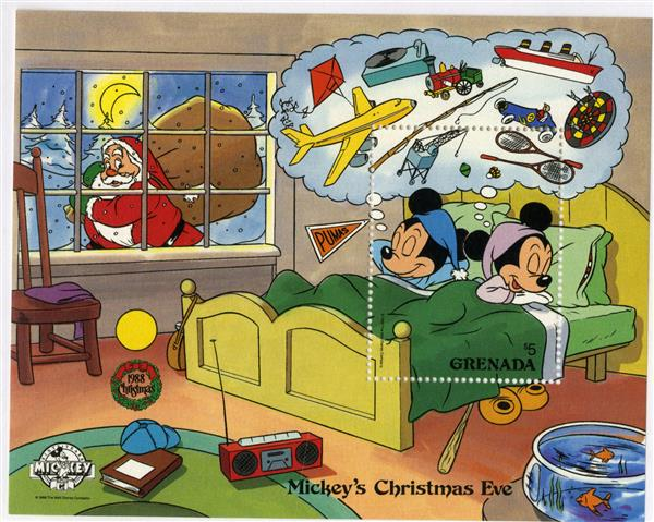 1988 Disney and Friends Celebrate Christmas Eve,  Mint Souvenir Sheet, Grenada