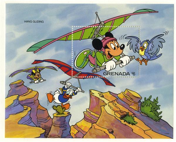 1992 Disney Friends Try - Thrill Sports, Mint Souvenir Sheet, Grenada