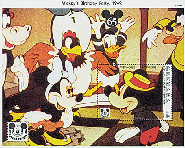 1993 Disney and Friends Commemorate Mickeys 65th Birthday, Mint Souvenir Sheet, Grenada