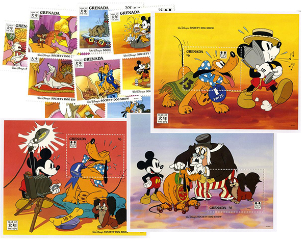 1994 Disney Celebrates The Chinese New Year - Year of the Dog, Mint, Set of 9 Stamps and 3 Souvenir Sheets, Grenada