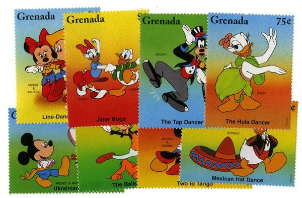 Grenada 1996 Disney Dancers, 8 Stamps