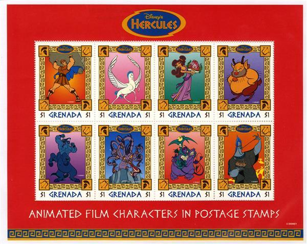 1997 Disneys Hercules, Mint, Sheet of 8 Stamps, Grenada
