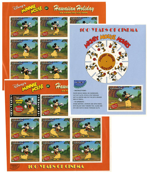 1997 Disney Celebrates PACIFIC 97 with 100 Years of Cinema, Mint, 2 Sheets of Stamps & Souvenir Sheet, Grenada