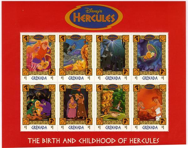 1998 Disneys Hercules, Mint, Sheet of 8 Stamps, Grenada