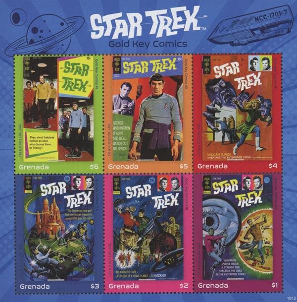 2019 $1-$6 Star Trek, Gold Key Comics, Mint, Sheet of 6 Stamps, Grenada