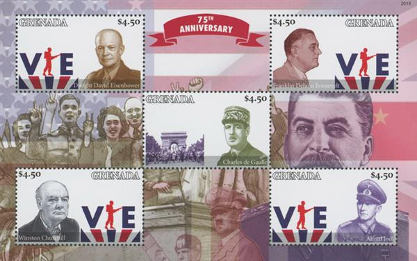 2020 $4.50 75th Anniversary of WWII - VE-Day, Mint Sheet of 5 Stamps, Grenada