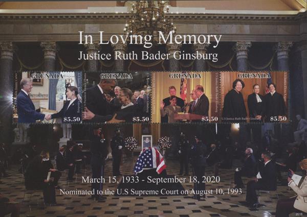 2020 $5.50 In Loving Memory of Justice Ruth Bader Ginsburg - sheet of 4