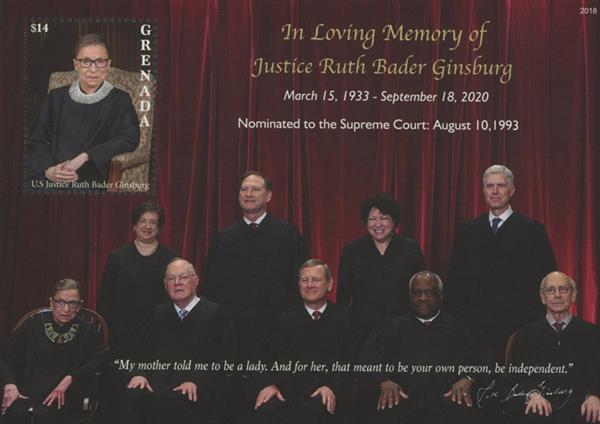 2020 $14 In Loving Memory of Justice Ruth Bader Ginsburg  - souvenir sheet