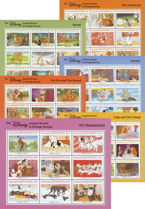 1988 Grenada Grenadines - Disney Animal Stories in Postage Stamps