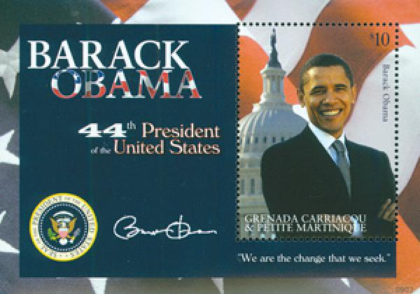 2009 President Barack Obama, Mint, Souvenir Sheet, Grenadines