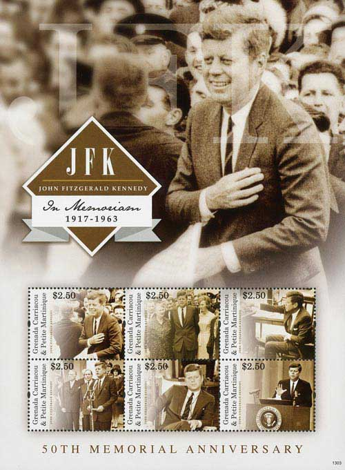 2013 JFK 50th Anniversary Sheet of 6