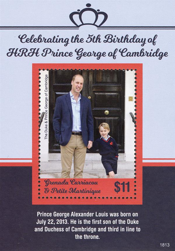 2018 $11 Fifth Birthday of Prince George souvenir sheet of 1