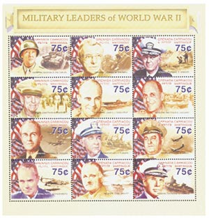 2002 75c WWII Military Leaders Sheet