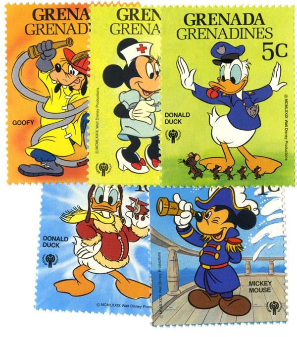 1979 Disneys International Year of the Child - Disney in Uniform, Mint, Set of 5 Stamps, Grenada