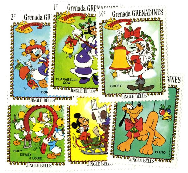 "1983 Disneys ""Jingle Bells"", Mint, Set of 6, Grenadines"