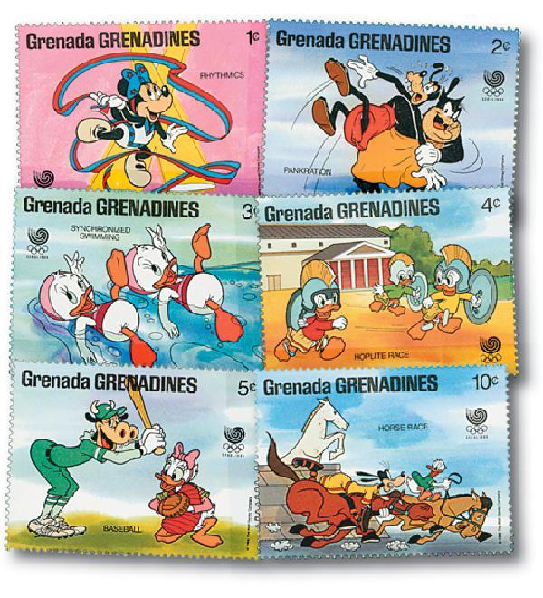 1988 Disneys Seoul Korea Summer Olympics, Mint, Set of 6 Stamps, Grenadines